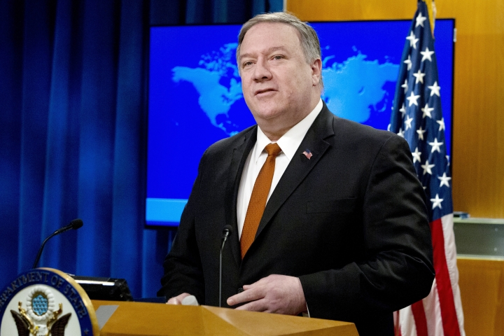 "FILE - In this March 13, 2019, file photo, U.S. Secretary of State Mike Pompeo speaks during the release of the 2018 Country Reports on Human Rights Practices at the Department of State in Washington. China has responded to new U.S. allegations of human rights abuses with its own accusations of prejudice and interference, saying Washington should drop its ""Cold War mentality"" and stop interfering in China's internal affairs. (AP Photo/Jose Luis Magana, File)"
