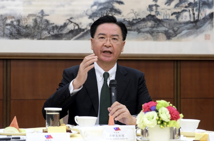 Taiwan's Foreign Minister Joseph Wu speaks to media during a press conference held in Taipei, Taiwan on Thursday, March 14, 2019. Wu says Washington should be concerned for strategic reasons that Taiwan is losing its diplomatic allies in Latin America to rival China. (AP Photo/Johnson Lai)