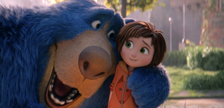 "This image released by Paramount Animation shows June, voiced by Sofia Mali, right, and Boomer, voiced by Ken Hudson Campbell, in a scene from the animated film ""Wonder Park."" (Paramount Animation via AP)"