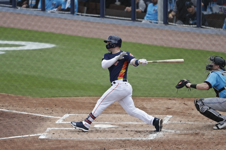 Houston Astros' Alex Bregman hits a home run in the first inning during an exhibition spring training baseball game against the Miami Marlins, Thursday, March 14, 2019, in West Palm Beach Fla. (AP Photo/Brynn Anderson)