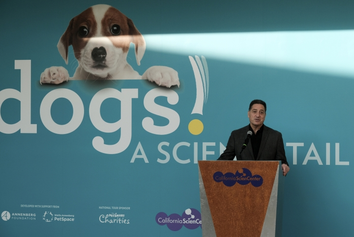 """In this Tuesday, March 12, 2019 photo Jeffrey Rudolph President of the California Science Center announces a new exhibition called """"Dogs! A Science Tail,"""" that is part science, part history, part Norman Rockwell Americana and of course all canine. The exhibit opens to the public on Saturday March 16, 2019. (AP Photo/Richard Vogel)"""