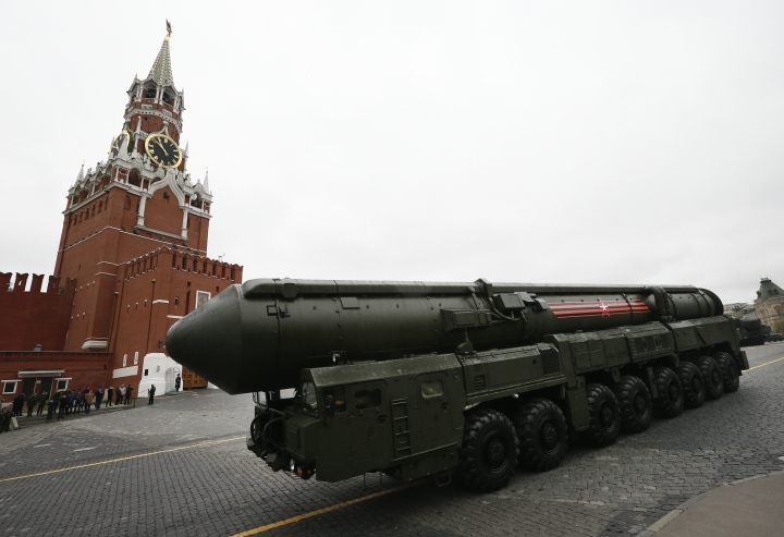 FILE - In this Tuesday, May 9, 2017 file photo, Russian Topol M intercontinental ballistic missile launcher rolls along Red Square during the Victory Day military parade to celebrate 72 years since the end of WWII and the defeat of Nazi Germany, in Moscow, Russia. (AP Photo/Alexander Zemlianichenko, File)