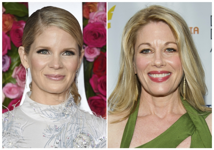 "This combination photo shows Broadway actresses Kelli O'Hara at the Tony Awards in New York on June 10, 2018, left, and Marin Mazzie at the Drama Desk Awards in New York on June 3, 2012. O'Hara was devastated by the recent death of Mazzie, so she decided to honor her as she performs one of Mazzie's old roles in the latest revival of ""Kiss Me, Kate."" ""I have her with me every night. I make my entrance in the hat she made her entrance in,"" the Tony Award-winning actress said Thursday, March 14, 2019, at the opening night of the musical. Mazzie, a three-time Tony Award nominee known for powerhouse Broadway performances, died in September of ovarian cancer. She was 57. (AP Photo)"