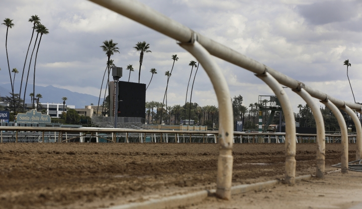 FILE - This March 7, 2019, file photo, shows the empty home stretch at Santa Anita Park in Arcadia, Calif. A filly broke both front legs at the end of a workout on the main dirt track at Santa Anita and has been euthanized, becoming the 22nd horse to suffer catastrophic injuries since Dec. 26. Trainer and owner David Bernstein says the 3-year-old filly named Princess Lili B broke down just past the finish line on Thursday morning, March 14, 2019. (AP Photo/Damian Dovarganes, File)