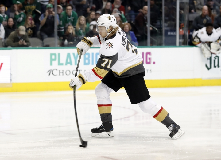 Vegas Golden Knights center William Karlsson (71) shoots a penalty shot that was blocked by Dallas Stars goaltender Anton Khudobin, not pictured, in the second period of an NHL hockey game in Dallas, Friday, March 15, 2019. (AP Photo/Tony Gutierrez)