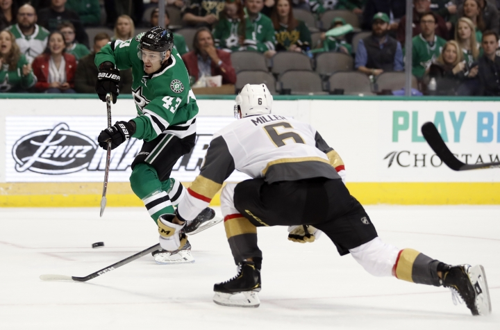Dallas Stars right wing Valeri Nichushkin (43) takes a shot at the net as Vegas Golden Knights defenseman Colin Miller (6) helps defend in the first period of an NHL hockey game in Dallas, Friday, March 15, 2019. (AP Photo/Tony Gutierrez)