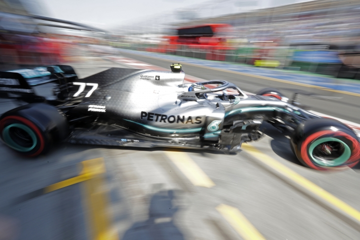 Mercedes driver Valtteri Bottas of Finland leaves his garage during the final practice session for the Australian Grand Prix in Melbourne, Australia, Saturday, March 16, 2019. The first race of the year is Sunday. (AP Photo/Rick Rycroft)