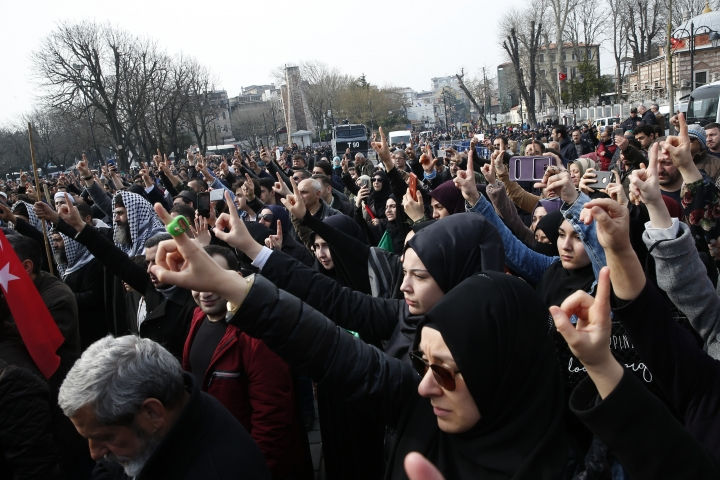 Demonstrators chant slogans against the mosque attacks in New Zealand during a protest in Istanbul, Saturday, March 16, 2019. World leaders expressed condolences and condemnation following the deadly attacks on mosques in the New Zealand city of Christchurch, while Muslim leaders said the mass shooting was evidence of a rising tide of violent anti-Islam sentiment. (AP Photo/Lefteris Pitarakis)