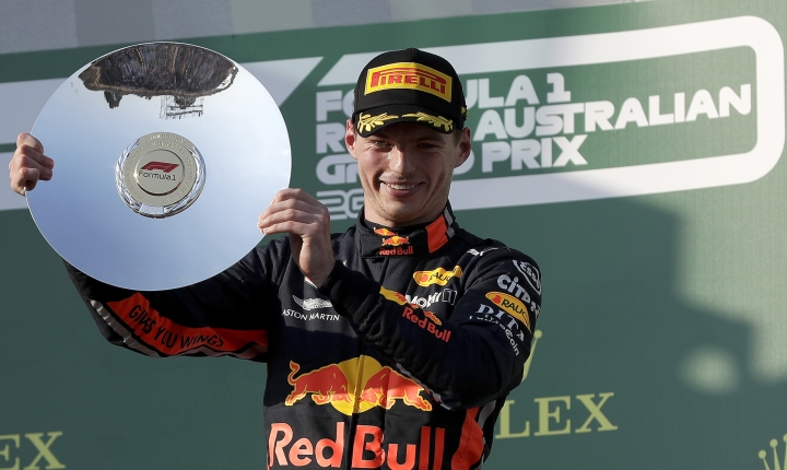 Red Bull driver Max Verstappen of the Netherlands holds up his trophy after coming third in the Australian Formula 1 Grand Prix in Melbourne, Australia, Sunday, March 17, 2019. (AP Photo/Rick Rycroft)