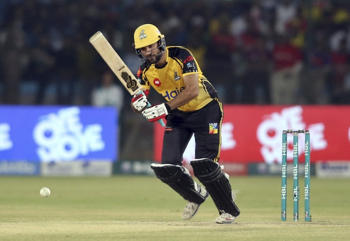 Peshawar Zalmi batsman Sohaib Maqsood bats during the final cricket match of Pakistan Super League against Quetta Gladiator at National stadium in Karachi, Pakistan, Sunday, March 17, 2019. (AP Photo/Fareed Khan)
