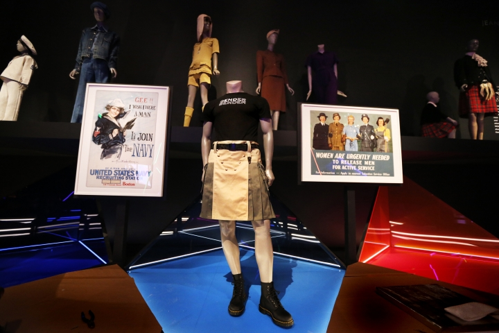 "In this Thursday, March 14, 2019, photo, a skirt for men is displayed on a mannequin for the ""Gender Bending Fashion"" exhibit at the Museum of Fine Arts in Boston. ""Gender Bending Fashion"" is the first large-scale exhibit of its kind to be hosted by a major museum. It is comprised of mixed-media: paintings, record covers and photographs. But a highlight for viewers will surely be the 70 gender-bending ensembles from big-name designers. (AP Photo/Charles Krupa)"