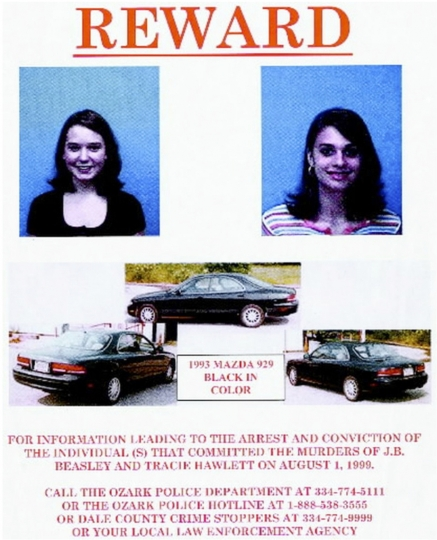 This 1999 flyer released by the Ozark (Ala.) Police Department, shows J.B. Beasley, left, Tracie Hawlett, who were both murdered in July 1999. Alabama authorities say a DNA match found through a genealogy website has led to an arrest in the killings of the two teenage girls nearly 20 years ago. Al.com reports Coley McCraney, of Dothan, was arrested Saturday, March 16, 2019, on rape and capital murder charges in the 1999 deaths of Hawlett and Beasley. (Ozark Police Department via AP)