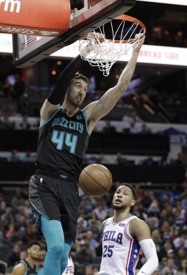 Charlotte Hornets' Frank Kaminsky (44) dunks against Philadelphia 76ers' Ben Simmons (25) during the first half of an NBA basketball game in Charlotte, N.C., Tuesday, March 19, 2019. (AP Photo/Chuck Burton)