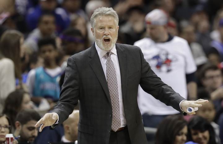 Philadelphia 76ers head coach Brett Brown reacts to a call during the first half of an NBA basketball game against the Charlotte Hornets in Charlotte, N.C., Tuesday, March 19, 2019. (AP Photo/Chuck Burton)