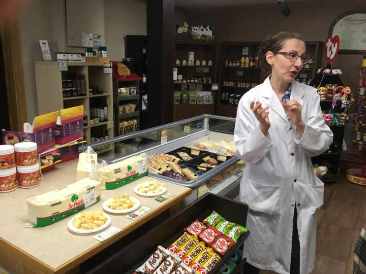 In this Sept. 19, 2018 photo, lab technician Ginette Beaulieu describes how the cheese at Fromagerie Saint-Fidele is made in Saint-Fidele, Quebec in Canada. Fromagerie Saint-Fidele, which has been in operation for more than 100 years, makes cheeses with terroir accents, offering fresh cheddar and Swiss to customers each day. (AP Photo/John Marshall)