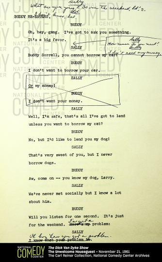 """This undated photo provided by the National Comedy Center shows a page from the script of an """"Dick Van Dyke Show"""" episode from Nov. 21, 1961, called """"The Unwelcome Houseguest."""" Hollywood producer Carl Reiner and the National Comedy Center say they're working together to digitally preserve Reiner's collection of scripts from the 1960's comedy. His scripts for all 158 episodes have been stored away since production wrapped in 1966. (National Comedy Center via AP)"""