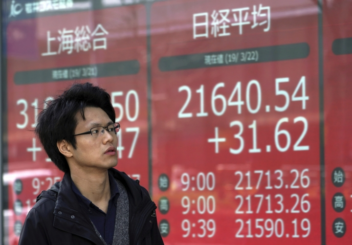 A man walks past an electronic stock board showing Japan's Nikkei 225 index at a securities firm in Tokyo Friday, March 22, 2019. Asian markets were mostly lower on Friday as investors mulled over the possibility of a trade deal between the U.S. and China in the near future, ahead of the continuation of talks in Beijing next week. (AP Photo/Eugene Hoshiko)