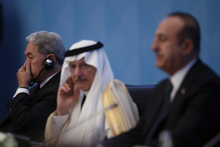 """New Zealand's Deputy Prime Minister Winston Peters, left, attends an emergency session of 57-member Organization of Islamic Cooperation's executive committee meeting, in Istanbul, Friday, March 22, 2019. Peters has called for solidarity to eradicate """"hate-filled ideologies"""" in an emergency session of Muslim nations Friday, after a gunman killed 50 people in two mosques in the South Pacific nation.(AP Photo/Emrah Gurel)"""