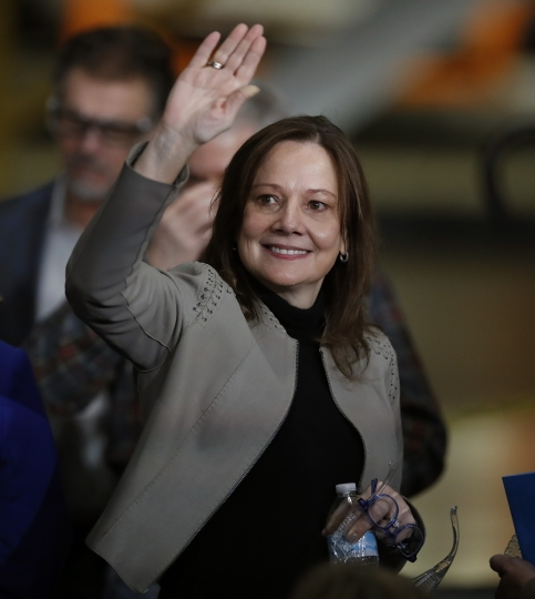 General Motors Chairman and CEO Mary Barra waves before announcing the company investment of $300 million in its Orion Township, Mich., assembly plant to produce a new Chevrolet electric vehicle, Friday, March 22, 2019, in Orion Township, Mich. (AP Photo/Carlos Osorio)