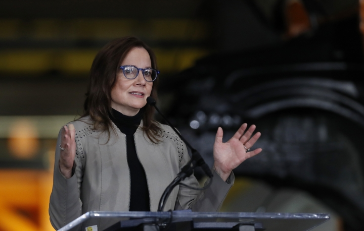 General Motors Chairman and CEO Mary Barra announces the company investment of $300 million in its Orion Township, Mich., assembly plant to produce a new Chevrolet electric vehicle, Friday, March 22, 2019, in Orion Township, Mich. (AP Photo/Carlos Osorio)