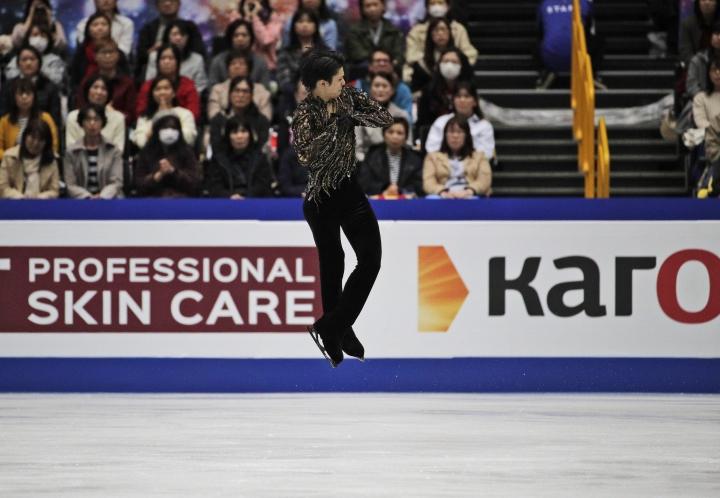 Japan's Yuzuru Hanyu performs his men's free skating routine during the ISU World Figure Skating Championships at Saitama Super Arena in Saitama, north of Tokyo, Saturday, March 23, 2019. (AP Photo/Andy Wong)