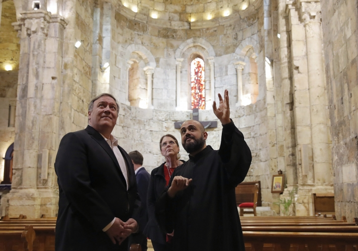 U.S. Secretary of State Mike Pompeo and his wife Susan visit a church at Byblos, Lebanon, Saturday, March 23, 2019. (Jim Young/Pool Photo via AP)