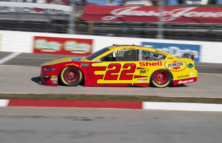 Joey Logano drives during qualifying for a NASCAR Cup Series auto race at Martinsville Speedway in Martinsville, Va., Saturday, March 23, 2019. (AP Photo/Matt Bell)