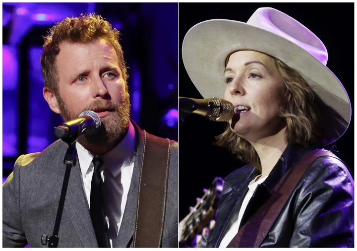 This combination photo shows Dierks Bentley, left, and Brandi Carlile who will collaborate on a performance at the ACM Awards airing on April 7 on CBS. The ACM Awards will also feature collaborations between pop star Khalid and Kane Brown and pop star Kelly Clarkson pulling double-duty with performances with both Jason Aldean and Dan + Shay. (AP Photo)