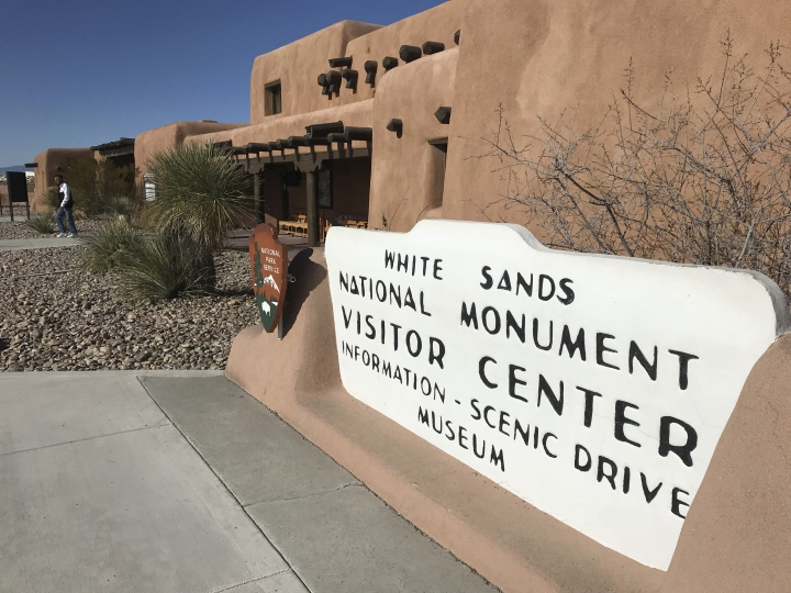 This Feb. 8, 2019 photo, shows the historic building that greets visitors at White Sands National Monument near Alamogordo, N.M. U.S. Sen. Martin Heinrich and Rep. Xochitl Torres Small, both New Mexico Democrats, are sponsoring legislation to elevate the monument to national park status. (AP Photo/Susan Montoya Bryan)