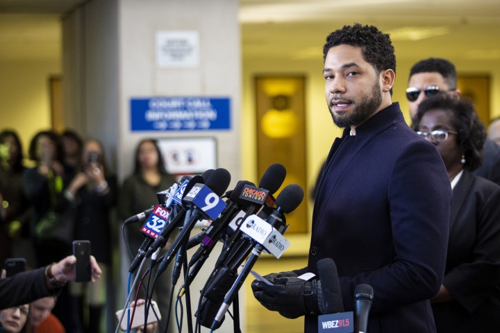 Actor Jussie Smollett speaks at the Leighton Criminal Courthouse in Chicago on Tuesday March 26, 2019, after prosecutors dropped all charges against him. Smollett was indicted on 16 felony counts related to making a false report that he was attacked by two men who shouted racial and homophobic slurs. (Ashlee Rezin/Sun-Times/Chicago Sun-Times via AP)