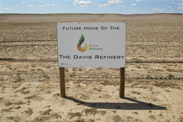 """FILE - This July 19, 2018, file photo, shows the property in southwest Belfield, N.D that is the future home The Davis Refinery near Theodore Roosevelt National Park. The National Parks Conservation Association is taking its battle against an oil refinery being developed near Theodore Roosevelt National Park to the North Dakota Supreme Court. The group argues in its Wednesday, March 27, 2019, filing that an air quality permit issued by the state Health Department for the $800 million Davis Refinery and upheld by a state judge violates the federal Clean Air Act. State Air Quality Director Terry O'Clair says the state is """"confident in the permit that was issued.""""(Tom Stromme/The Bismarck Tribune via AP, File)"""