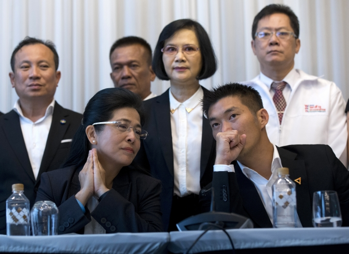 Pheu Thai party's candidate for prime minister Sudarat Keyuraphan left, and Future Forward Party leader Thanathorn Juangroongruangkit, right talk during a press conference Bangkok, Thailand Wednesday, March 27, 2019. Seven political parties led by the flagship party loyal to former Prime Minister Thaksin Shinawatra have come together in a coalition to try to form Thailand's next government, even though the results of Sunday's general election will be formally announced only on May 9. (AP Photo/Sakchai Lalit)