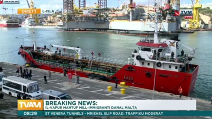 This image taken from TVM video on Thursday March 28, 2019 shows armed forces onboard the Turkish oil tanker El Hiblu 1 in Valletta, Malta, which was hijacked by migrants. A Maltese special operations team on Thursday boarded a tanker that had been hijacked by migrants rescued at sea, and returned control to the captain, before escorting it to a Maltese port. (TVM via AP)