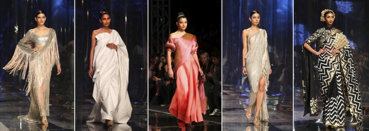 In this combination photo of five photographs taken on Saturday, March 16, 2019, photo, models display creations of top Indian designers celebrating the Sari, a traditional Indian outfit, during the Grand finale of the Lotus make up India Fashion Week in New Delhi, India. Organized by the Fashion Design Council of India, more than 100 of India's top names in fashion and 50 models from India and overseas participated in the five day Lotus Makeup India Fashion Week which celebrated the sari, Indian women's most idiosyncratic garment, six yards of fabric that symbolize a centuries-old tradition. (AP Photo/Manish Swarup)