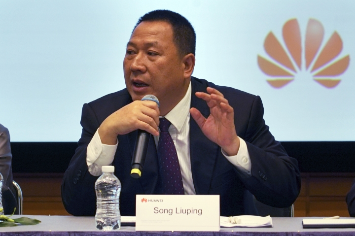 Huawei's chief legal officer Song Liuping speaks during Huawei's annual report in Shenzhen in south China's Guangdong province, Friday, March 29, 2019. Huawei is asking a U.S. federal court in a lawsuit filed this month to throw out a law that bars the Trump administration and government contractors from using its equipment. The company says that improperly punishes the company without giving it away to defend itself. (AP Photo/Dake Kang)