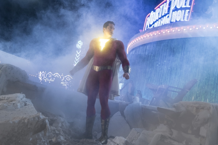 """This image released by Warner Bros. shows Zachary Levi in a scene from """"Shazam!"""" (Steve Wilkie/Warner Bros. Entertainment via AP)"""