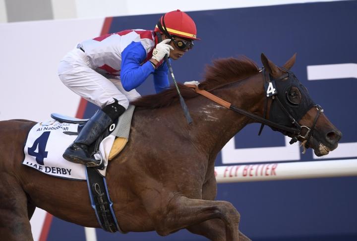 Plus Que Parfait with jockey Jose Ortiz wins the $2.5 million Group 2 UAE Derby over 1900m in Dubai, United Arab Emirates, Saturday, March 30, 2019. (AP Photo/Martin Dokoupil)