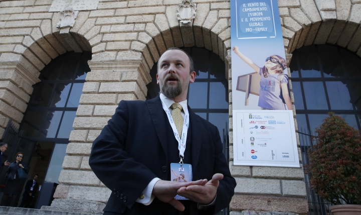 Joseph Grabowski arrives to the World Congress of Families, in Verona, Italy, Saturday, March 30, 2019. A congress in Italy under the auspices of a U.S. organization that defines family as strictly centering around a mother and father has made Verona — the city of Romeo and Juliet — the backdrop for a culture clash over family values, with a coalition of civic groups mobilizing against what they see as a counter-reform movement to limit LGBT and women's rights. (AP Photo/Antonio Calanni)