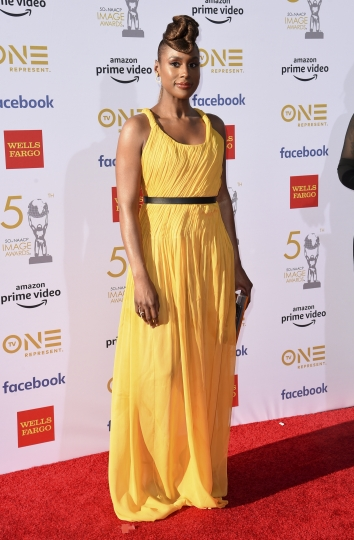 Issa Rae arrives at the 50th annual NAACP Image Awards on Saturday, March 30, 2019, at the Dolby Theatre in Los Angeles. (Photo by Richard Shotwell/Invision/AP)