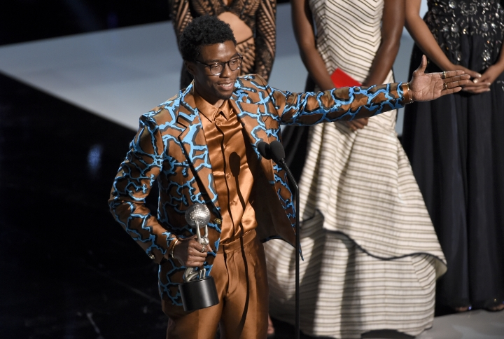 """Chadwick Boseman accepts the award for outstanding actor in a motion picture for """"Black Panther""""at the 50th annual NAACP Image Awards on Saturday, March 30, 2019, at the Dolby Theatre in Los Angeles. (Photo by Chris Pizzello/Invision/AP)"""