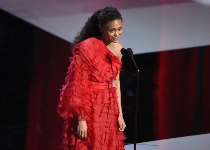 Thandie Newton presents the award for outstanding actor in a drama series at the 50th annual NAACP Image Awards on Saturday, March 30, 2019, at the Dolby Theatre in Los Angeles. (Photo by Chris Pizzello/Invision/AP)