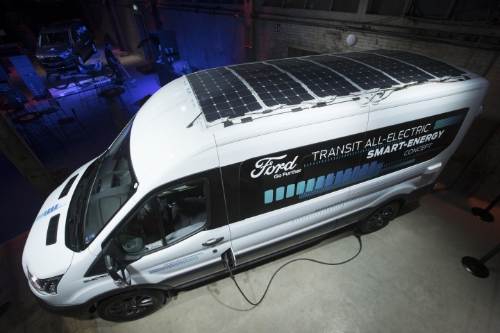 The all-electric Ford Transit equipped with solar panels on it's roof is presented during an event in Halfweg, near Amsterdam, Netherlands, Tuesday, April 2, 2019. At a glitzy unveiling of new cars with electric and hybrid engines, Ford's Europe boss Armstrong warned of the potentially disastrous effects of a no-deal Brexit, in which the country leaves without a deal on future trade relations. That could mean tariffs and border checks that could seriously disrupt businesses, particularly the auto industry. (AP Photo/Peter Dejong)