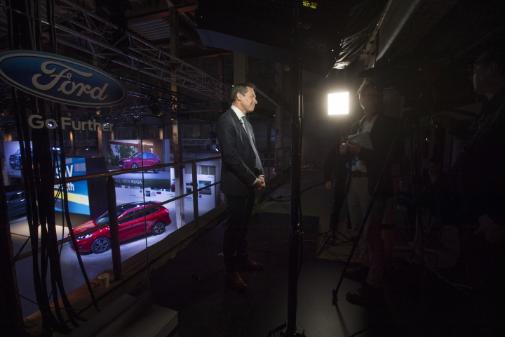"""Ford of Europe Chairman Steven Armstrong is interviewed at a Ford event in Halfweg, near Amsterdam, Netherlands, Tuesday, April 2, 2019. Ford's European boss said that if the United Kingdom can't work out a deal on how to leave the European Union while guaranteeing """"frictionless trade"""" then the company """"will have to consider seriously the long-term future of our investments in the country."""" (AP Photo/Peter Dejong)"""