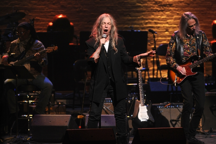 "Patti Smith performs onstage at the Jazz Foundation of America's 17th annual ""A Great Night In Harlem"" gala concert at the Apollo Theater on Thursday, April 4, 2019, in New York. (Photo by Brad Barket/Invision/AP)"