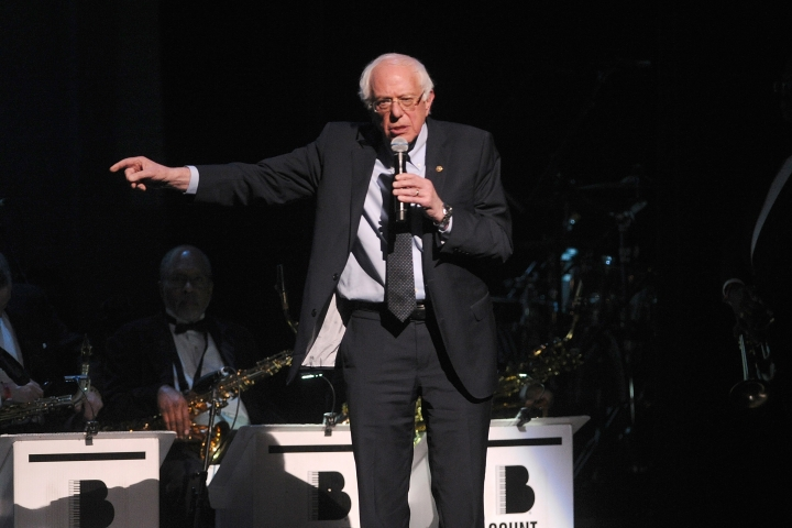 "2020 Democratic presidential candidate Bernie Sanders appears onstage at the Jazz Foundation of America's 17th annual ""A Great Night In Harlem"" gala concert at the Apollo Theater on Thursday, April 4, 2019, in New York. (Photo by Brad Barket/Invision/AP)"