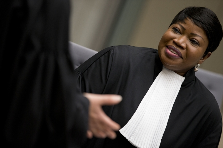 -FILE- In this Wednesday, April 4, 2018 image, chief prosecutor Fatou Bensouda waits for alleged jihadist leader Al Hassan Ag Abdoul Aziz Ag Mohamed Ag Mahmoud to enter the court room at the International Criminal Court in The Hague, Netherlands. The prosecutor of the International Criminal Court says she has had her U.S. visa revoked, in the first implementation of an American crackdown on the global tribunal.(AP Photo/Peter Dejong, Pool)