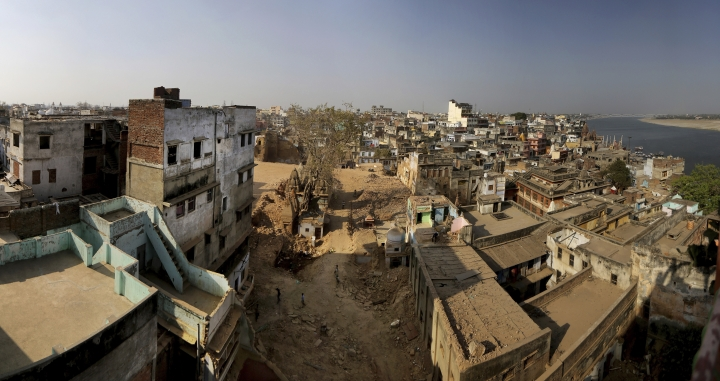 This March 19, 2019, panorama made up of multiple photographs stitched together, shows a view of demolitions done for a proposed grand promenade connecting the sacred Ganges river with a centuries-old temple dedicated to Lord Shiva, in Varanasi, India. A project in the ancient Indian city of Varanasi dreamed up by Prime Minister Narendra Modi shows the master political marketer's penchant for symbolism as political strategy in elections that begin this month. (AP Photo/Altaf Qadri)