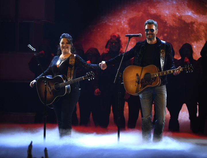 "Ashley McBryde, left, and Eric Church perform ""The Snake"" at the 54th annual Academy of Country Music Awards at the MGM Grand Garden Arena on Sunday, April 7, 2019, in Las Vegas. (Photo by Chris Pizzello/Invision/AP)"