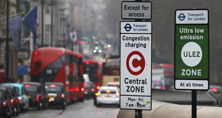 Cars enter the new Ultra Low Emission Zone that has come into force Monday, in London, Monday, April 8, 2019, one of the world's first emission charge for cars. Drivers of older and more polluting cars face paying a new £12.50 fee adding to the Congestion Charge to enter the centre of the capital. (AP Photo/Frank Augstein)