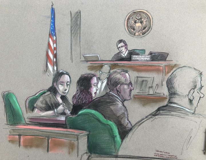 In this artist sketch, a Chinese woman, Yujing Zhang, left, listens to a hearing Monday, April 8, 2019, before federal Magistrate Judge William Matthewman in West Palm Beach, Fla. Secret Service agents arrested the 32-year-old woman March 30 after they say she gained admission by falsely telling a checkpoint she was a member and was going to swim. (Daniel Pontet via AP)